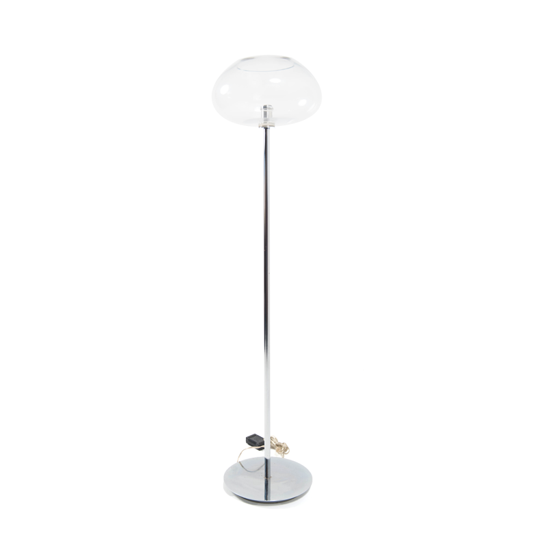Chrome Floor Lamp With Glass Shade
