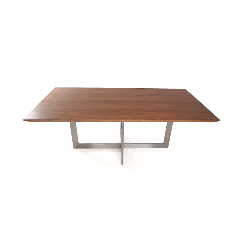 Dining table walnut with brushed aluminum base iStage  : 23 from istagefloridahomes.com size 800 x 800 png 132kB