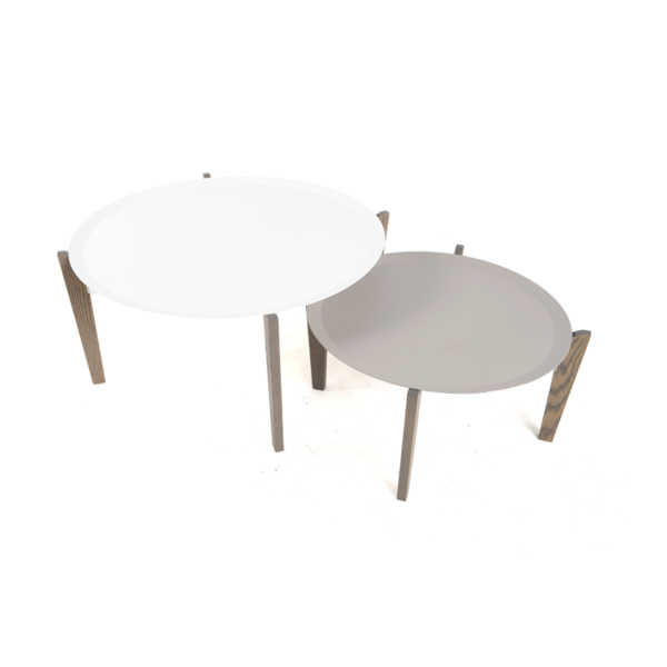 Coffee table grey and white circle istage homes for Table 52 2016