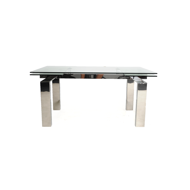 Dining Table Chrome And Glass With Extendable Leaves
